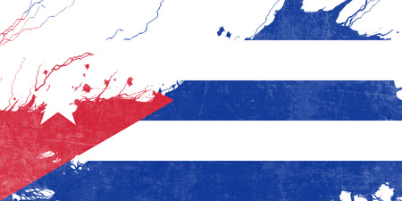 folds: Cuba flag with some soft highlights and folds Stock Photo