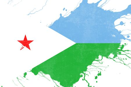 folds: Djibouti flag with some soft highlights and folds