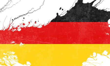 folds: German flag with some soft highlights and folds Stock Photo