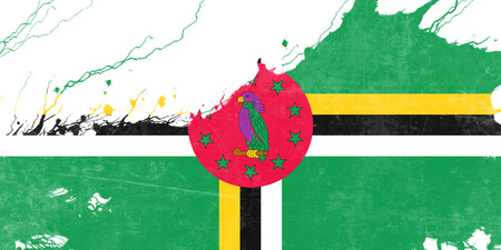 folds: Dominica flag with some soft highlights and folds Stock Photo