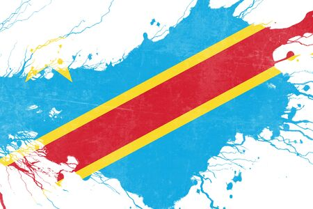 folds: Democratic republic of the congo flag with some soft highlights and folds Stock Photo