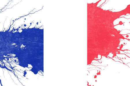 folds: France flag with some soft highlights and folds Stock Photo