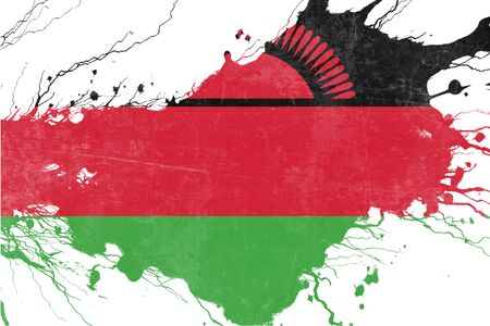 folds: Malawi flag with some soft highlights and folds