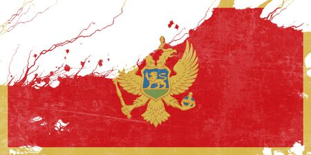 folds: Montenegro flag with some soft highlights and folds Stock Photo