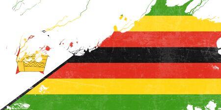 folds: Zimbabwe flag with some soft highlights and folds Stock Photo