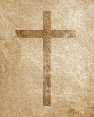 Christian cross on paper background with some soft lines