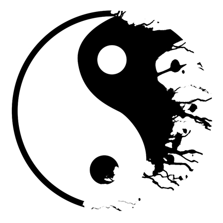 Silver yin yang symbol on a white background Imagens