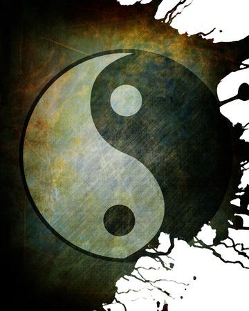 chinese philosophy: Yin yang symbol on grunge background