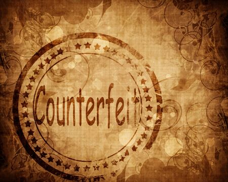 counterfeit: Counterfeit stamp on grunge background with some highlights Stock Photo