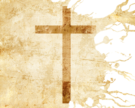 jesuit: Christianity representation with the symbol of a cross on parchment