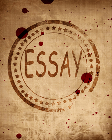 essay: Essay stamp on a grunge background with some rough lines
