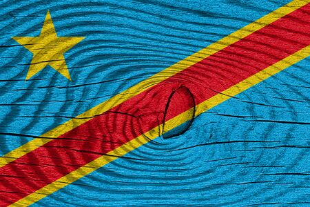 democratic: Democratic republic of the congo flag with some soft highlights and folds Stock Photo