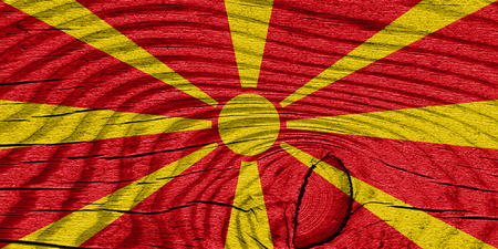 highlights: Macedonia flag with some soft highlights and folds