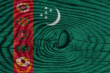 turkmenistan: Turkmenistan flag with some soft highlights and folds Stock Photo