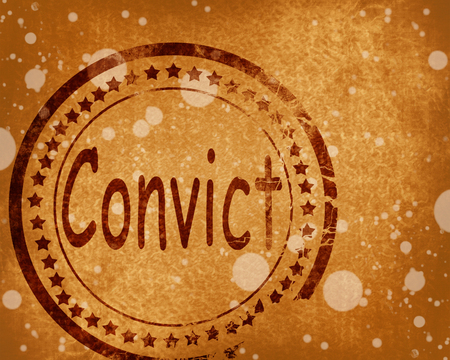convicted: Convict stamp on a grunge background with some rough lines