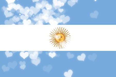freedom couple: Argentina flag with some soft highlights and folds