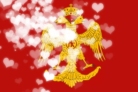 historical romance: Byzatine eagle flag with some soft highlights and folds Stock Photo