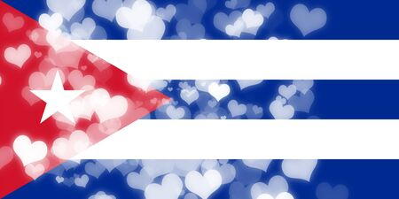 freedom couple: Cuba flag with some soft highlights and folds Stock Photo