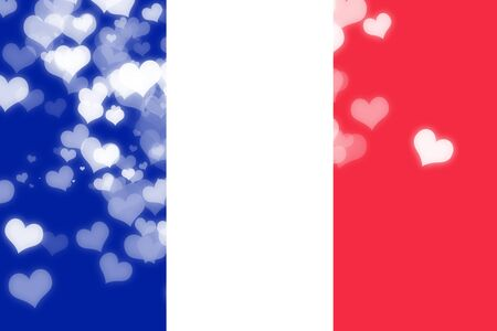 freedom couple: France flag with some soft highlights and folds Stock Photo
