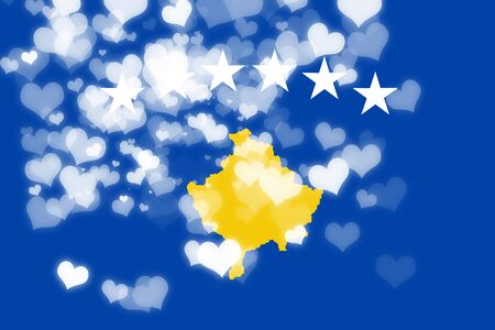freedom couple: Kosovo flag with some soft highlights and folds Stock Photo