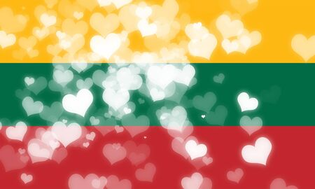 freedom couple: Lithuanian flag with some soft highlights and folds Stock Photo