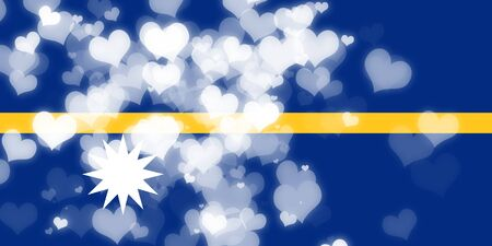freedom couple: Nauru flag with some soft highlights and folds Stock Photo