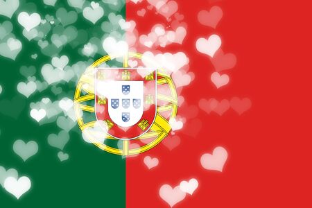 portugese: Portugal flag with some soft highlights and folds Stock Photo