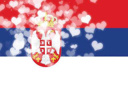 freedom couple: Serbia flag with some soft highlights and folds