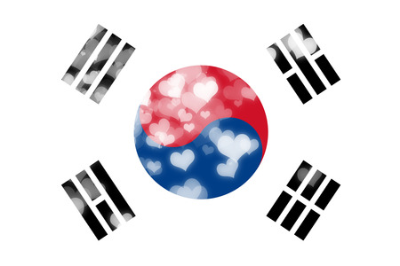 independence: South korea flag with some soft highlights and folds Stock Photo