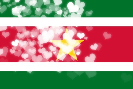 independence: Suriname flag with some soft highlights and folds Stock Photo