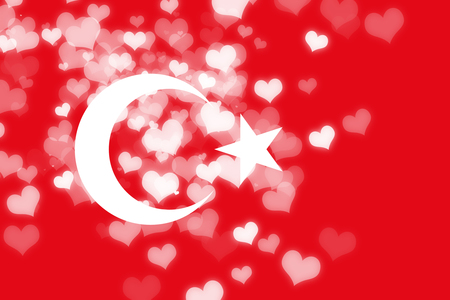 Turkey flag with some soft highlights and folds Stock Photo