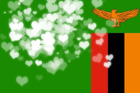 freedom couple: Zambia flag with some soft highlights and folds