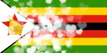 freedom couple: Zimbabwe flag with some soft highlights and folds Stock Photo