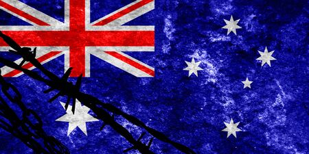 illegal alien: Australia flag with some soft highlights and folds