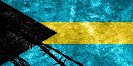 illegal alien: Bahamas flag with some soft highlights and folds