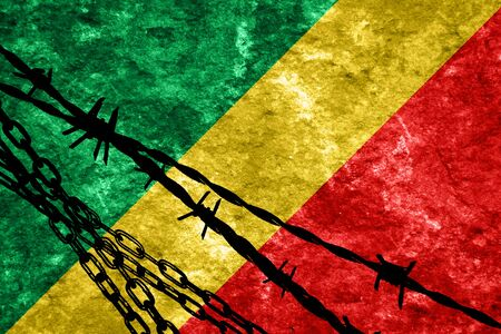 flee: Congo flag with some soft highlights and folds Stock Photo