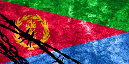 highlights: Eritrea flag with some soft highlights and folds