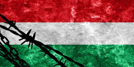 illegal alien: Hungary flag with some soft highlights and folds