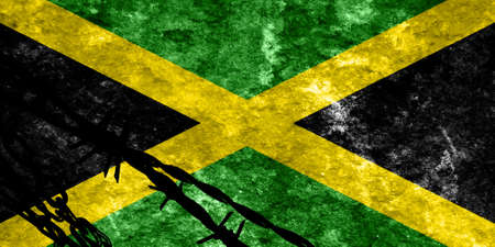 illegal alien: Jamaica flag with some soft highlights and folds Stock Photo