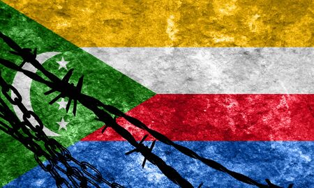flee: Comoros flag with some soft highlights and folds Stock Photo