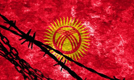 illegal alien: Kyrgyzstan flag with some soft highlights and folds
