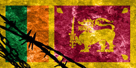 illegal alien: Sri Lanka flag with some soft highlights and folds