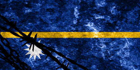 illegal alien: Nauru flag with some soft highlights and folds Stock Photo