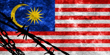 illegal alien: Malaysia flag with some soft highlights and folds Stock Photo