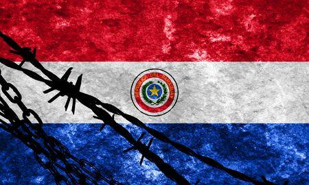 bandera de paraguay: Paraguay flag with some soft highlights and folds Foto de archivo