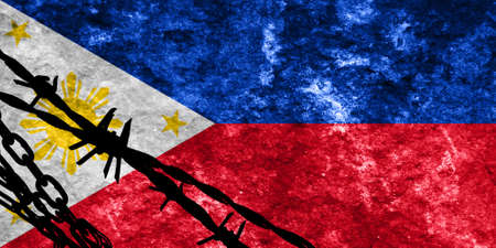 illegal alien: Philippines flag with some soft highlights and folds Stock Photo