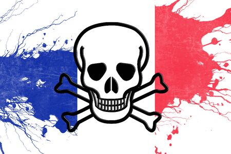 revolt: France flag with some soft highlights and folds Stock Photo