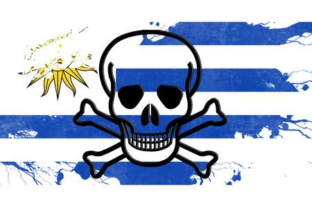 bandera de uruguay: Uruguay flag with some soft highlights and folds Foto de archivo