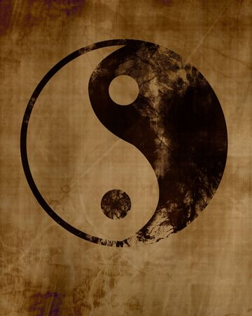 daoism: Grunge yin yang symbol background. with some rough scratches Stock Photo