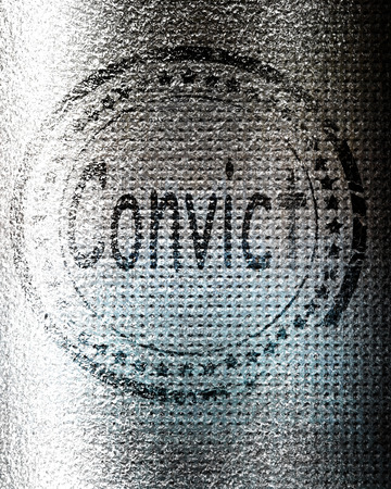 convict: Convict stamp on a grunge background with some rough lines